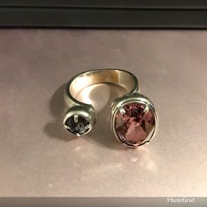 Brighton Jewelry - Brighton Open Ring, silver. Pink and Grey, Size 9